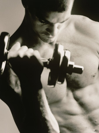 Close-up of a Young Man Working Out with a Dumbbell Photographic Print