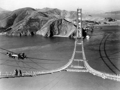 Workers Complete the Catwalks for the Golden Gate Bridge Photographic Print