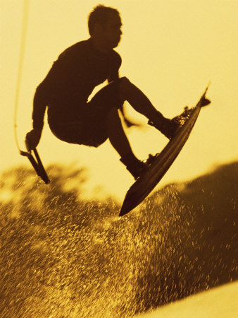 Silhouette of a Man Wakeboarding Photographic Print