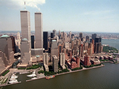 The Twin Towers of the World Trade Center Rise Above the New York Skyline Photographic Print