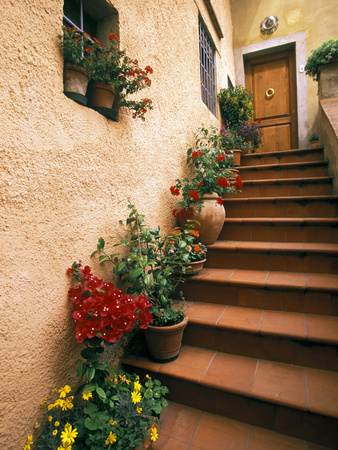 Tuscan Staircase, Italy Photographic Print by Walter Bibikow