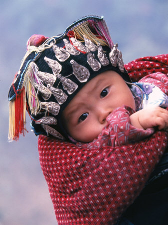 Miao Baby Wearing Traditional Hat, China Photographic Print
