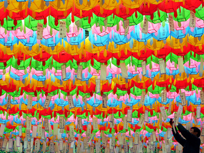 A South Korean Worker Decorates Lanterns to Celebrate Buddha's Upcoming Birthday Photographic Print