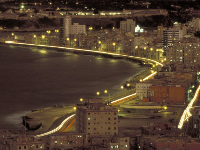 Malecon at Night, Havana, Cuba Photographic Print