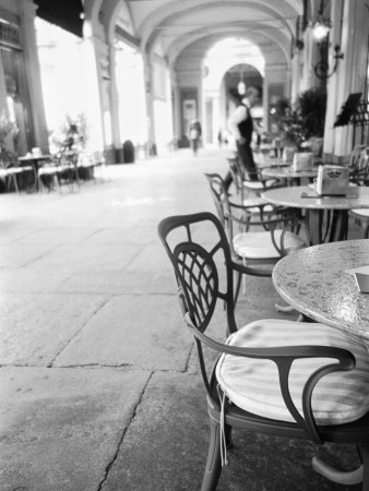 Cafe and Archway, Turin, Italy Photographic Print by Walter Bibikow
