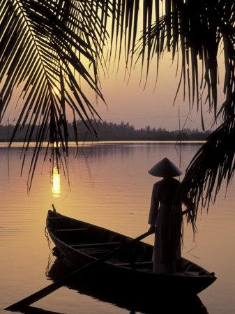 Evening View on the Mekong River, Mekong Delta, Vietnam Fotoprint av Keren Su