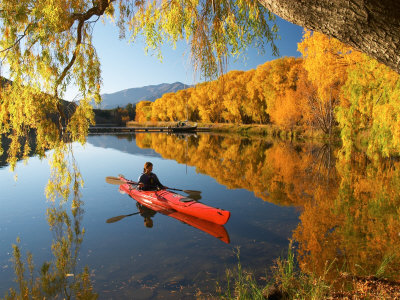 Red Kayak and Autumn Colours, Lake Benmore, South Island, New Zealand Photographic Print by David Wall