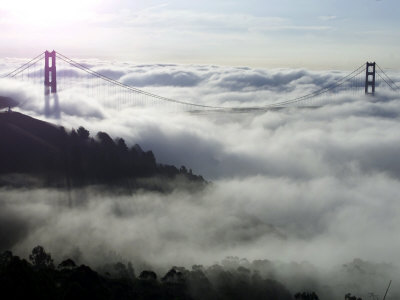 Fog Shrouds the Golden Gate Bridge and the Marin Headlands Near Sausalito Photographic Print
