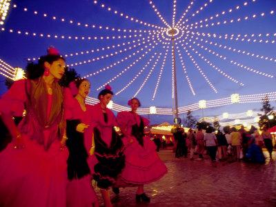 Women in Flamenco Dresses at Feira de Abril, Sevilla, Spain Photographic Print by John & Lisa Merrill