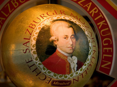 Mozart's Face on Chocolate Wrapper, Salzburg, Austria Photographic Print by David Barnes