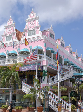 Dutch Architecture of Oranjestad Shops, Aruba, Caribbean Photographic Print by Lisa S. Engelbrecht