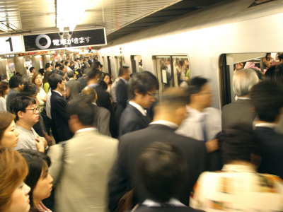 Commuters Boarding Train During 8Am Rush Hour at Ueno Station, Ginza Line, Tokyo, Japan Photographic Print by Greg Elms