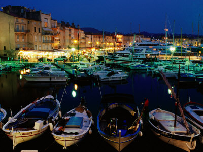 Boats in Port and Waterfront Buildings at Night, St. Tropez, France Photographic Print by Richard I'Anson