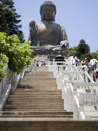 Steps Leading up to Tian Tan Buddha Statue, Hong Kong, China Photographic Print by Greg Elms