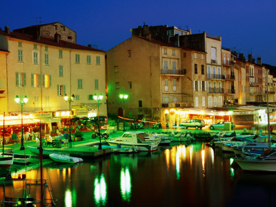 Harbour at Night with Buildings Along Quais Frederic Mistral and Jean Jaures, St. Tropez, France Photographic Print by Barbara Van Zanten