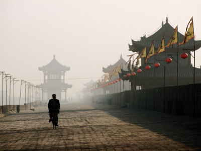 Man Walking on Ancient Wall Near North Gate, Xi'An, China Photographic Print by Greg Elms