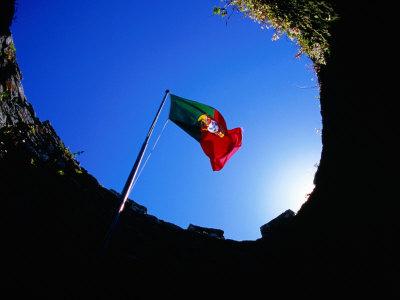 Portuguese Flag Inside Castelo Dos Mouros, Sintra, Portugal Photographic Print by Martin Lladó