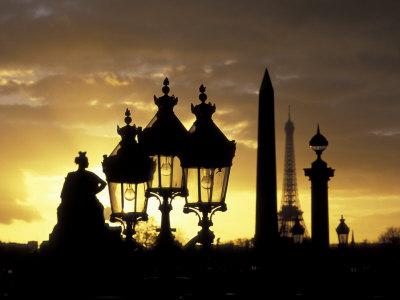 Obelisque, Place de la Concorde, Eiffel Tower, Paris, France Photographic Print by David Barnes
