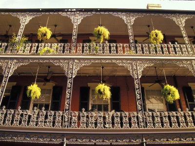 Wrought Iron Architecture and Baskets, French Quarter, New Orleans, Louisiana, USA Photographic Print by Adam Jones