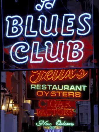 Neon Signs on Bourbon Street, French Quarter, New Orleans, Louisiana, USA Photographic Print by Adam Jones