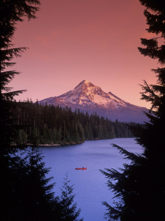 Canoeing on Lost Lake in the Mt Hood National Forest, Oregon, USA Photographic Print by Janis Miglavs