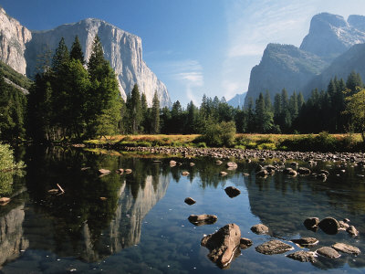 Valley View of El Capitan, Cathedral Rock, Merced River in Yosemite National Park, California, USA Photographic Print