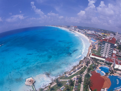 Scenic of Beach with Hotels, Cancun, Mexico Photographic Print