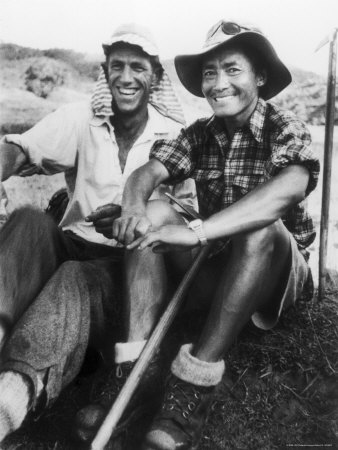 Edmund Hillary and Nepalese Sherpa Guide Tenzing Norgay Sitting Together Premium Photographic Print by James Burke