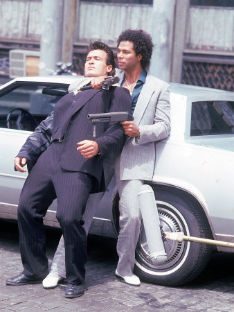 "Actors Philip Michael Thomas and Shooting Scene From Thomas's Television Series ""Miami Vice"" Metal Print by David Mcgough"