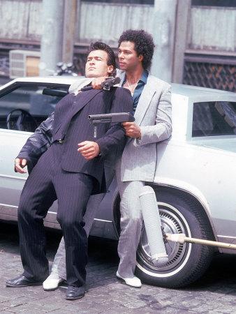"Actors Philip Michael Thomas and Shooting Scene From Thomas's Television Series ""Miami Vice"" Metal Print by David Mcgough"