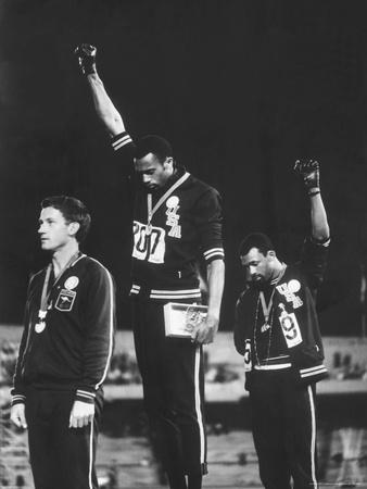 Black Power Salute, 1968 Mexico City Olympics Metal Print by John Dominis