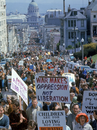 Students Carrying Antiwar Signs While Marching in Protest of US Involvement in the Vietnam War Photographic Print