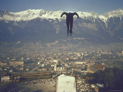 Skier Taking Off from the Bergisel Jump Hangs During Innsbruck Winter Olympics Competition Photographic Print by Ralph Crane
