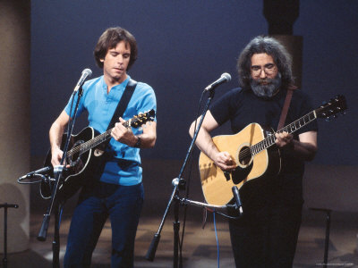 Musicians Bob Weir and Jerry Garcia of Rock Group Grateful Dead Performing Metal Print by David Mcgough