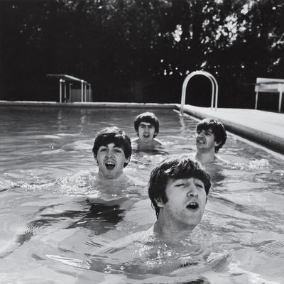 Paul McCartney, George Harrison, John Lennon and Ringo Starr Taking a Dip in a Swimming Pool Premium Photographic Print by John Loengard