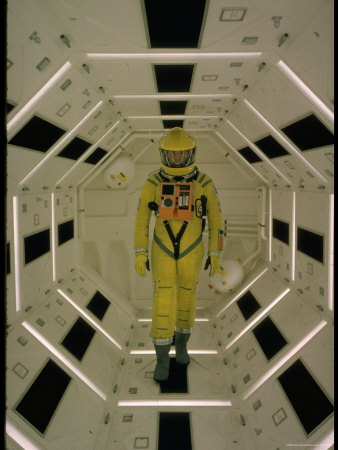 """Actor Gary Lockwood in Space Suit in Scene from Motion Picture """"2001: A Space Odyssey"""" Metal Print by Dmitri Kessel"""