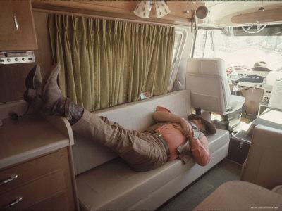Actor John Wayne During a Break in the Filming of Western Movie