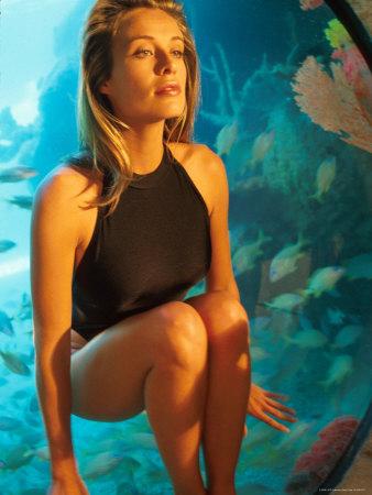 bathing suit model. Wearing Black Bathing Suit