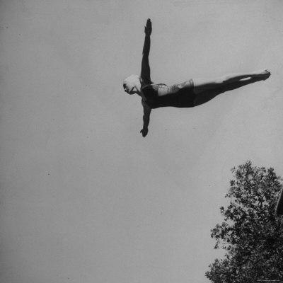 Victoria Manalo Draves Diving Like a Swan Premium Photographic Print by John Florea