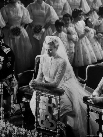 Actress Grace Kelly in Gorgeous Wedding Gown Praying During Her Wedding to Prince Rainier Metal Print by Thomas D. Mcavoy