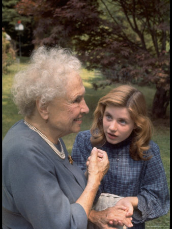 "Activist for the Disabled, Helen Keller, Meeting Actress Patty Duke in ""The Miracle Worker"" Metal Print by Nina Leen"