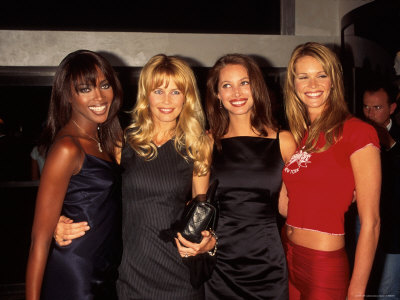 Models Naomi Campbell, Claudia Schiffer, Christy Turlington and Elle MacPherson Metal Print by Dave Allocca
