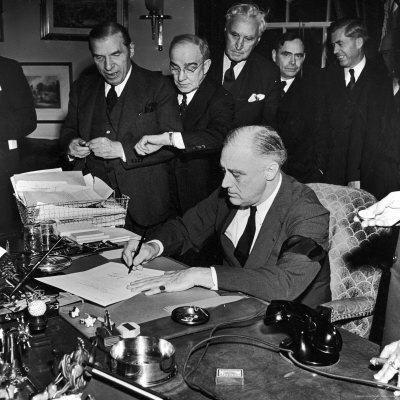 Pres. Franklin D. Roosevelt Signing Declaration of War Following Japanese Bombing of Pearl Harbor Photographic Print by Thomas D. Mcavoy