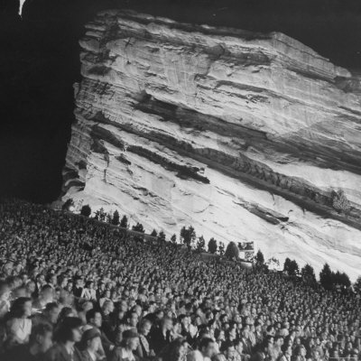 Creation Rock Dwarfs Audience during Concert Directed by Igor Stravinsky at Red Rocks Amphitheater Photographic Print by John Florea