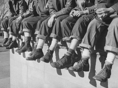 """Boys Sporting Their Latest Fad of Wearing G.I. Shoes Which They Call """"My Old Lady's Army Shoes"""" Photographic Print by Alfred Eisenstaedt"""