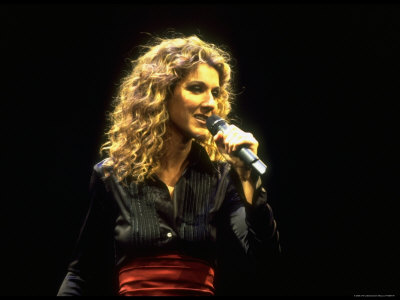 """Canadian Pop Music Star Celine Dion Singing Into Microphone During """"Hirshfeld Drawing"""" Function Metal Print by Dave Allocca"""