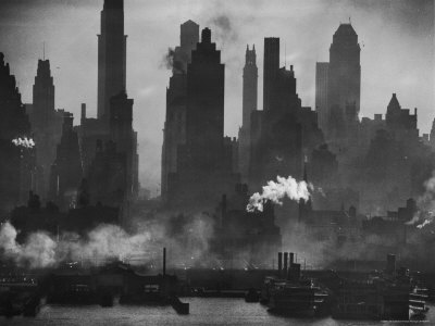 New York Harbor with Its Majestic Silhouette of Skyscrapers Looking Straight Down Bustling 42nd St. Photographic Print