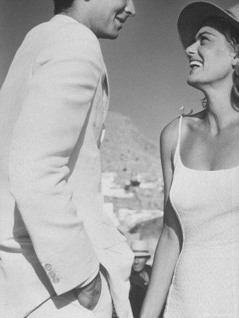"Actress Melina Mercouri and Tony Perkins in Greece to Make Movie ""S.S. Phaedra"" Metal Print by James Burke"