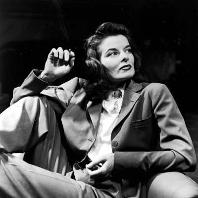 Portrait of Actress Katharine Hepburn with Cigarette in Hand Premium Photographic Print by Alfred Eisenstaedt