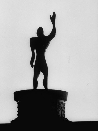 """Statue of """"Le Modulor,"""" by Le Corbusier's Ratio of Architectural Design in Relation to Human Figure Photographic Print by James Burke"""